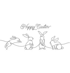 easter bunny greeting card in simple one line vector image