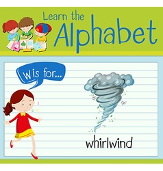 Flashcard letter W is for whirlwind vector