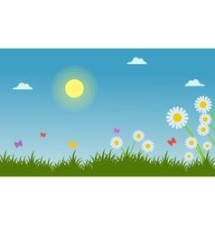 Flower in garden landscape at spring vector