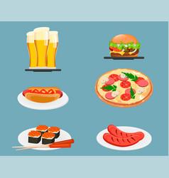 food icons beer cheeseburger hot dog pizza sushi vector image