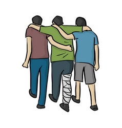 friends help man with bandage on his leg vector image