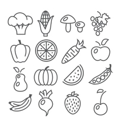Fruits and Vegetables Line Icons vector image