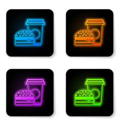 glowing neon coffee and burger icon isolated on vector image