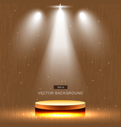 Gold stage with spotlight wood background vector