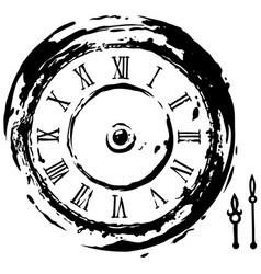 graphic black retro clock with arrows icon vector image