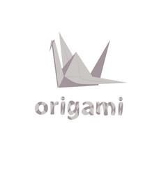 Gray crane origami vector