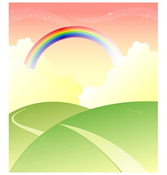 Green mountain with rainbow vector