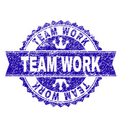Grunge textured team work stamp seal with ribbon vector