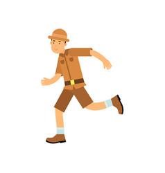 Happy cartoon archaeologist character running vector
