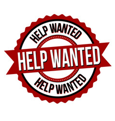 Help wanted label or sticker vector