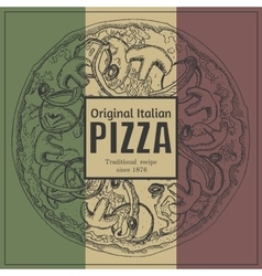 Ink hand drawn pizza package box vector image