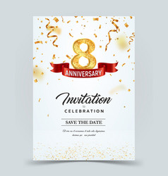 Invitation card template 8 years anniversary vector