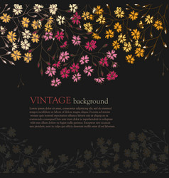 invitation card with vintage flowers vector image
