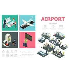 isometric airport infographic concept vector image