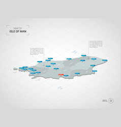 Isometric isle of man map with city names and vector
