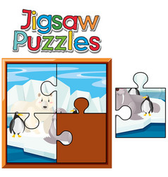 jigsaw puzzle game with animals in northpole vector image