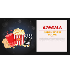 Juice popcorn and movie tickets vector