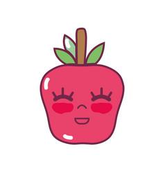 Kawaii cute happy apple fruit vector
