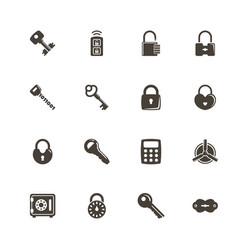 keys and locks - flat icons vector image