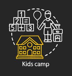 Kids camp chalk concept icon summer children club vector