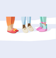 Legs in slippers pajama party concept kids in vector