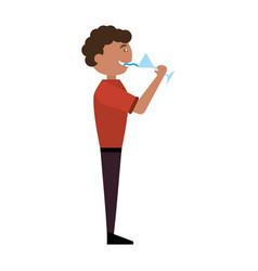 man celebrating cartoon vector image