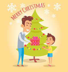 Merry christmas poster dad giving present to son vector