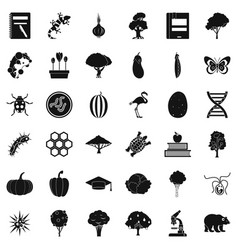 microbial icons set simple style vector image