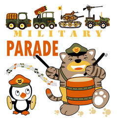 Military parade cartoon with funny animals vector