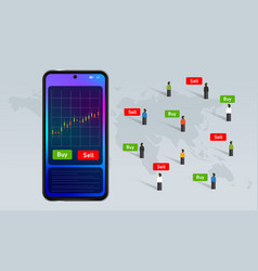 Mobile stock buy and sell transaction investment vector