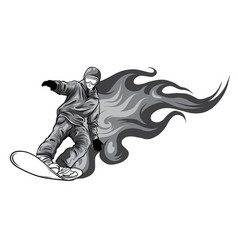 monochromatic snowboarder crow on fire vector image