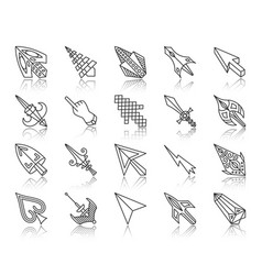 mouse cursor simple black line icons set vector image