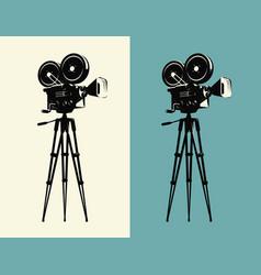 Movie camera on tripod vintage projector cinema vector