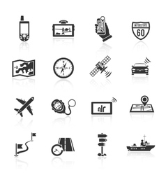 Navigation icons set black vector