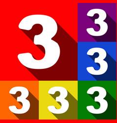 number 3 sign design template element set vector image