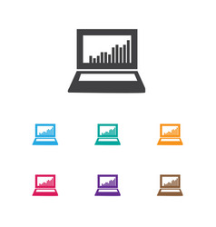 Of analytics symbol on laptop vector