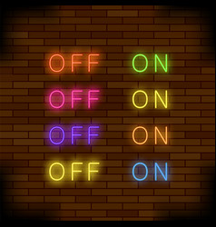 on and off lamp neon light toggle switch sign vector image