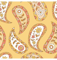 Orange paisley seamless pattern vector