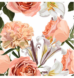 pattern with lilies creamy roses carnation vector image