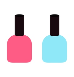 Pink blue nail polish varnish icon set White vector