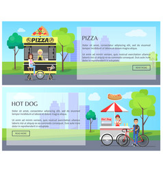 pizza and hot dogs web set vector image