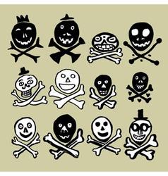 Primitive skulls inspired by naive art vector
