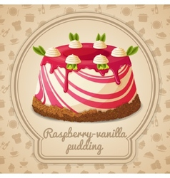 Raspberry vanilla pudding label vector