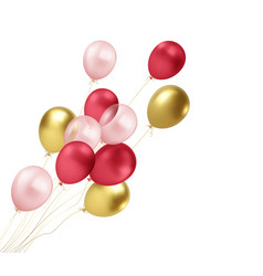 realistic gold red pink balloons flying isolated vector image
