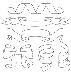 Ribbons bows and decorations outline signs vector