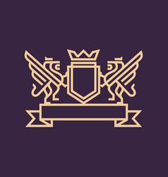 royal lion logo template vector image