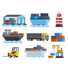 Sea Port Orthogonal Icons Set vector