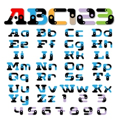 sectional fonts alphabet vector image