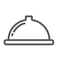 serving tray line icon food and restaurant dish vector image