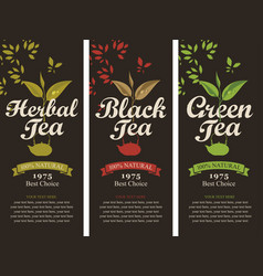Set of labels for the black green and herbal tea vector